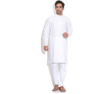 Prime Club Men Cotton White Kurta Pajama Set