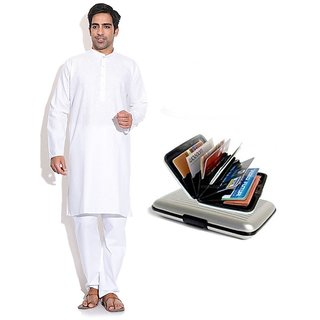 Prime Club MenS White Kurta Pajama Set With Card Holder