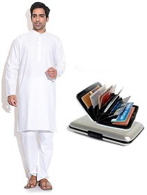 Prime Club MenS White Kurta Pajama Set With Card Holder