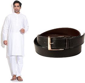 Prime Club MenS White Kurta Pajama Set With Belt