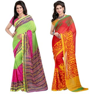 Treandy Red Brocade Printed Saree With Blouse (Combo of 2)