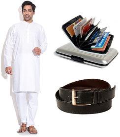 Prime Club MenS White Kurta Pajama Set With Belt  Cardholder
