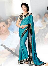 Swaron Beige & Black Banarasi Silk Printed Saree With Blouse