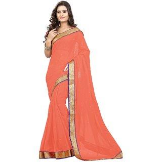 Triveni Orange Chiffon Lace Saree With Blouse