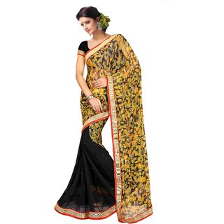 Triveni Black Net Lace Saree With Blouse