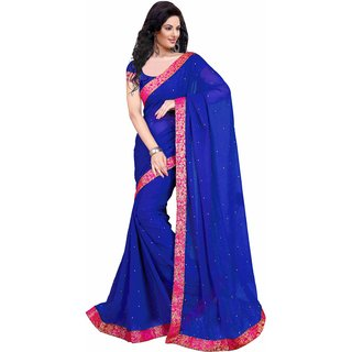 Triveni Blue Chiffon Lace Saree With Blouse