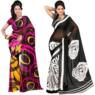 Treandy Multicolor Georgette Printed Saree With Blouse (Combo of 2)