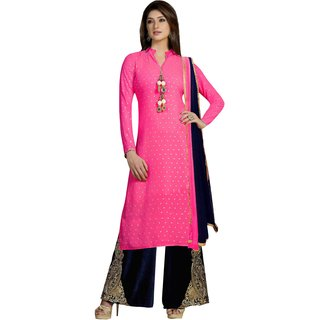 Triveni Amazing Magenta Colored Embroidered Faux Georgette Salwar Kameez