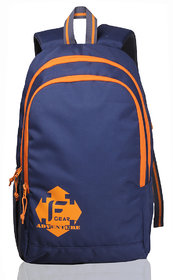 F Gear Navy & Orange Polyester Casual Backpacks