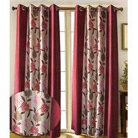 Iliv Designer Maroon Floral Curtains 7 Feet - Set Of 2
