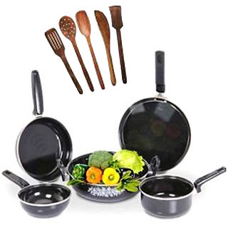 5 Pcs Non-Stick Induction Safe Cookware  5 Pcs Skimmer Set