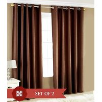 Sweet Home Polyester Brown Solid Eyelet Long Door Curtain(Set Of 2)