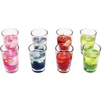 Zarsa Glass Gel Set Candle(Multicolor, Pack Of 8)