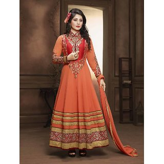 Fabliva Orange  Red Embroidered Georgette Anarkali Suit