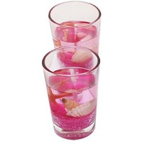 Zarsa Glass Gel Set Candle(Pink, Pack Of 2)