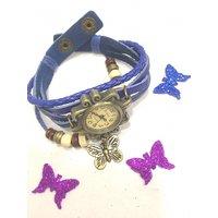 Vintage Retro Beaded Bracelet Leather Pretty Ladies Wrist Watch-Blue Butterfly.