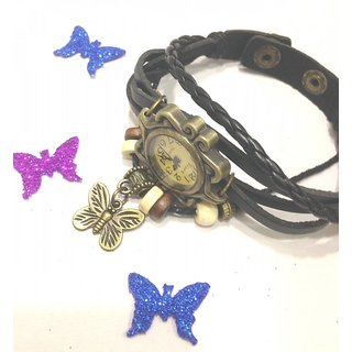 Vintage retro beaded bracelet leather pretty ladies wrist watch-Black Butterfly.