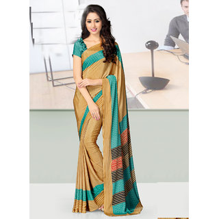 Vastrani Unique Indian Ethnic Printed Crepe Casual Wear Saree With Blouse 91S216