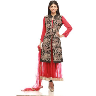 PAISLEY FASHIONS-RED AND BLACK JACKETED ANARKALI