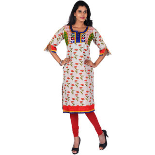 Vismit Floral Print Multicolor Cotton Unique Kurti