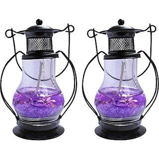 Zarsa Black Gel Lantern Candle(Multicolor, Pack of 2)