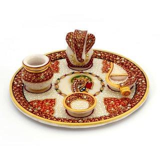 Krg Enterprises Gold Painted Lord Ganesha Idol Marble Pooja Thali 389