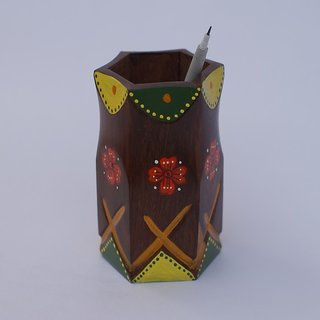 Hand Painted Wooden Pen Stand