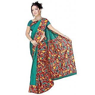 Triveni Green Art Silk Self Design Saree With Blouse