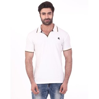 Rugby Pretty Cotton Pique Solid Half Sleeve Mens Casual T-Shirt