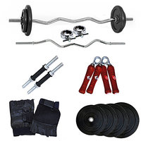 Fitfly  Home Gym Set 20 Kg Weight With 3Ft Curl Rod&Dumbbells Rod& Gloves&Griper
