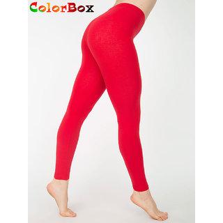 Leggings - Full Length Cotton Lycra Leggings Red