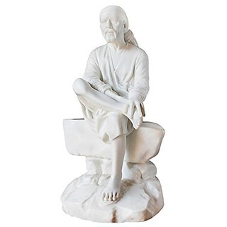 Shakti  Handmade White Poly Marble Sai Baba Statue Indian Hindu God Gift