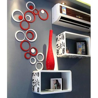 Home Decor 3D Wall Stickers Acrylic - Red White- JB019S4RW- Removable