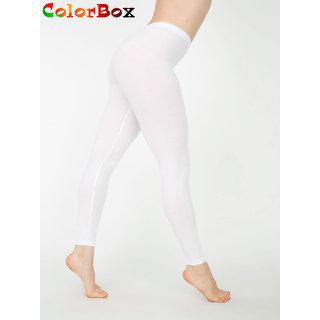 Leggings - Full Length Cotton Lycra Leggings White