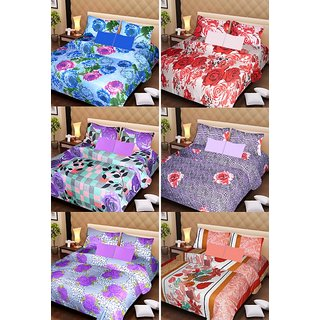 Akash Ganga Beautiful Combo of 6 Double Bedsheets with 12 Pillow Covers (AG1255)