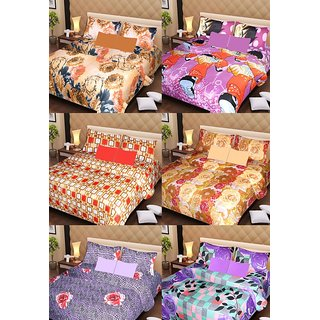 Akash Ganga Beautiful Combo of 6 Double Bedsheets with 12 Pillow Covers (AG1257)