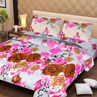 Akash Ganga Cotton White  Pink Double Bedsheet with 2 Pillow Covers (AG1260)