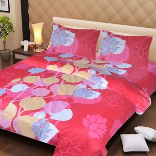 Akash Ganga Red Cotton Double Bedsheet with 2 Pillow Covers (AG1261)