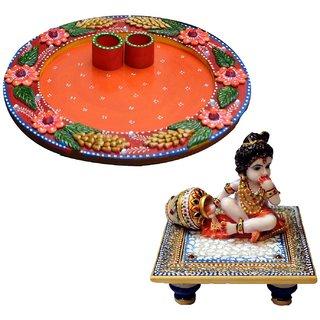 Marwal Combo of Floral Pooja Thali and Laddu Gopal chowki