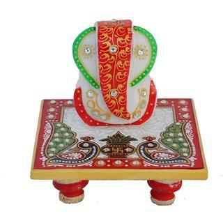 Marwal Marble Lord Ganesha Chowki with Peocock and Kalash