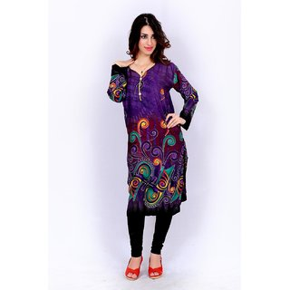Factory Direct Orange Printed Cotton Stitched Kurti