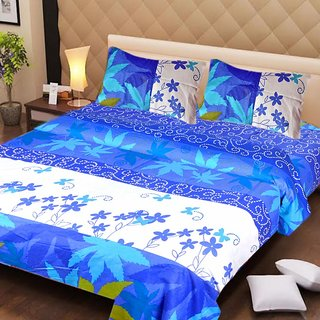Akash Ganga Blue Cotton Double Bedsheet with 2 Pillow Covers (AG1265)