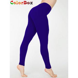 Leggings - Full Length Cotton Lycra Leggings Dark Blue