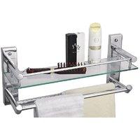 CiplaPlast Bathroom Glass Shelf With Double Towel Rods - Global 224G