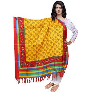 Lifetime Women Bhagalpuri/Tussar Silk Digital Print Yellow Dupatta (80725-IW)