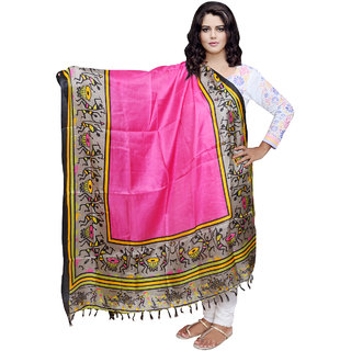 Lifetime Women Bhagalpuri/Tussar Silk Digital Print Pink Dupatta (80730-IW)