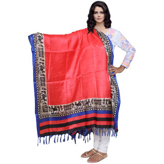Lifetime Women Bhagalpuri/Tussar Silk Digital Print Red Dupatta (80732-IW)