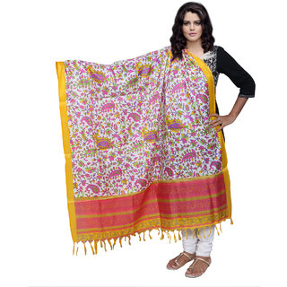 Lifetime Women Bhagalpuri/Tussar Silk Digital Print Yellow Dupatta (80735-IW)