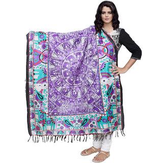 Lifetime Women Bhagalpuri/Tussar Silk Digital Print Purple Dupatta (80743-IW)