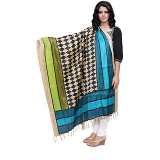 Lifetime Women Bhagalpuri/Tussar Silk Digital Print Blue+Black Dupatta (80745-IW)